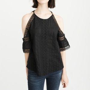 Abercrombie & Fitch black lace cold shoulder top